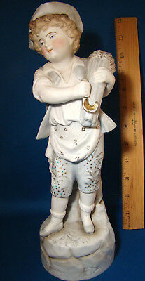 "ANTIQUE GERMAN BISQUE BOY WITH WHEAT FIGURINE #5057 Heubach (?) 11.5"" Tall @H"
