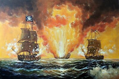 Pirate Ship Cannon Fire Attack 1800's Caribbean Sea Stretched 24X36 Oil Painting