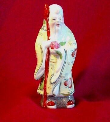 old chinese wise man ceramic figurine, holding staff- 5 1/2 in. vintage