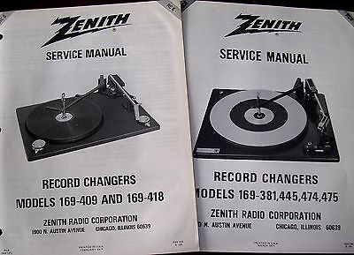 2 NEW Service Manuals BSR Heathkit/ZENITH Turntable RC-6 RC-8 169-409 TO 169-475