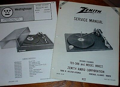 2 BSR SERVICE MANUALS Turntables RC2 Westinghouse TC-601 & Zenith 169-386 B9022