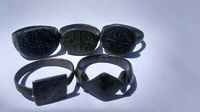 Lot Of 5 ROMAN BYZANTINE (4th-14th Century AD) Bronze RINGS
