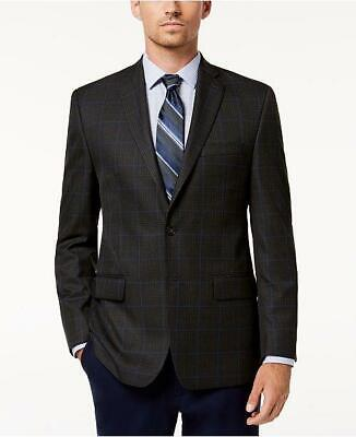 $295 Michael Kors Men's Classic Fit Gray Blue Plaid Sport Coat Jacket 44R