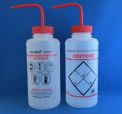 Qty 5 Acetone Safety Labeled Dispensing Bottles 1000mL VWR