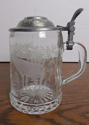 ALWE Pewter & Clear Glass Lidded Beer Stein w/Etching of Two Bugling Elk EUC
