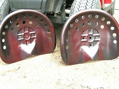 TWO Steel tractor Farm machinery metal stool seat s New Old Style Red
