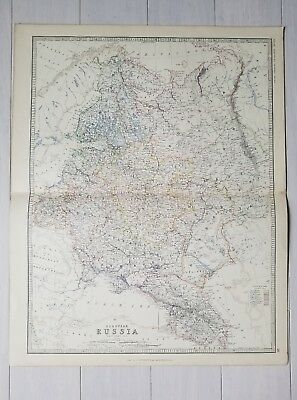 Rare Old Antique 1880 MAP OF RUSSIA USSR SOVIET UNION Imperial Russian RU Print
