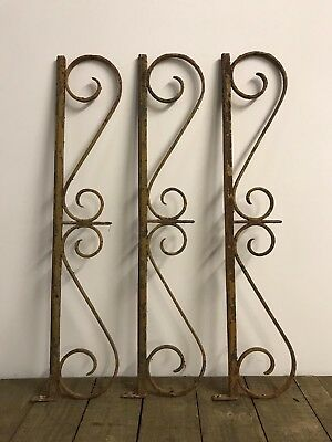Antique French Industrial Original Painted Cast Iron Brackets