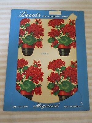Vintage 1940s New Old Stock Décor Decals, Potted Red Geraniums, 1 Sheet
