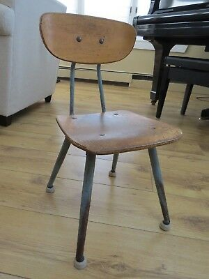 Antique Childs Blue Metal and Wood School Chair