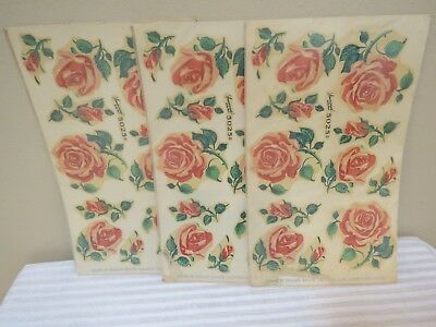Vintage 1940s New Old Stock Décor Decals, Pink Roses, 3 Sheets