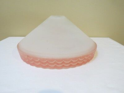 Antique Art Deco Frosted Ribbed Glass Shade with Center Hole and Pink Triple Sca