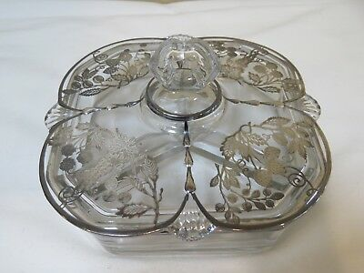 Vintage Glass Relish Dish with Lid and Sterling Silver Overlay