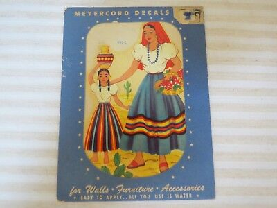 Vintage 1940s New Old Stock Décor Decals, Mexican Mother and Daughter, 1 Sheet