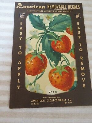 Vintage 1940s New Old Stock Décor Decals, Strawberries, 1 Sheet