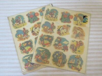 Vintage 1940s New Old Stock Décor Decals, Mexico Designs, 2 Sheets