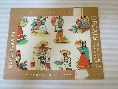 Vintage 1940s New Old Stock Décor Decals, Mexican People, 1 Sheet