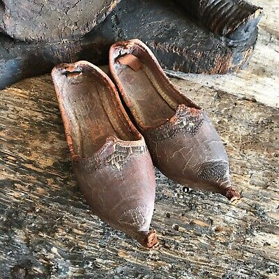 Antique 19th Century Leather Islamic Childs Shoes Slippers Ottoman Empire