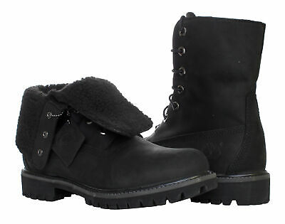 ae1c65b475b TIMBERLAND FOLD-DOWN ROLL-TOP Lined Waterproof Black Men's Boots A119A