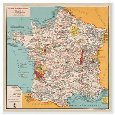 """BIG French Cooking Gourmet MAP of France Carte Gastronomique circa 1932 24""""x24"""""""