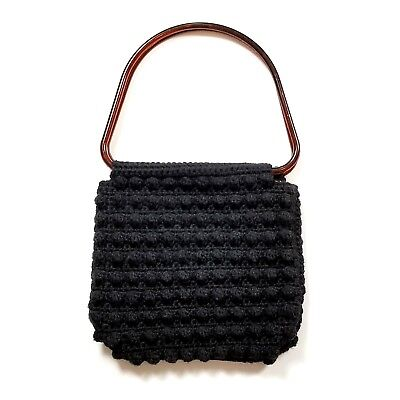 Vintage Black Crochet Knit Handbag Purse Lucite or Bakelite Handle