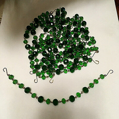 Vintage Czech crystal lamp chandelier chain SET of 13 strands Greens