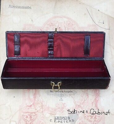 ANTIQUE/ EARLY20thC VINTAGE LEATHER ON WOOD+SATIN PEN/ PENCIL CASE/ STORAGE BOX