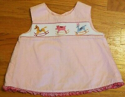 Beaux Et Belles New Orleans Pink Top With Exquisite Embroidery And Smocking Sz S