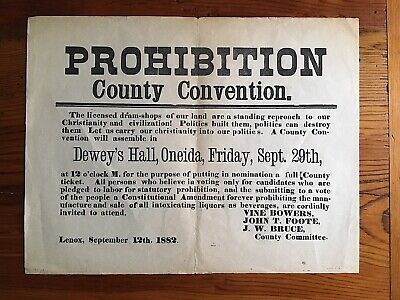 Prohibition Convention Oneida Madison County NY New York Lenox 1882 Broadside
