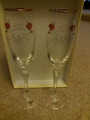 New & Boxed Tartan Crystal – 2 x Champagne Glasses – Engraved Happy Anniversary