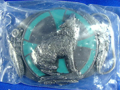 1993 Enameled Howling Wolf w/ Indian Design Belt Buckle Siskiyou