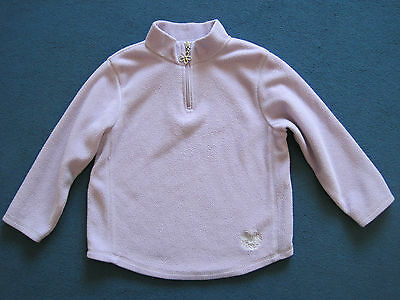Lilac purple fleece top jumper with pretty flower zip and flower motif age 5-6