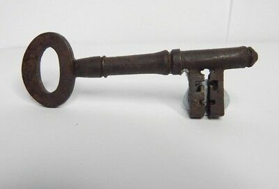 19th Century Victorian Mortice Key Steel Gothic  Original Patina 7.5 cm's