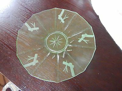 Depression Glass Etched Uranium Green Plate great condition
