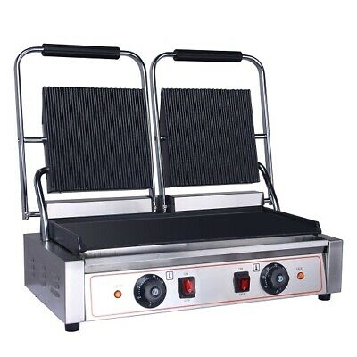 New Commercial Electric Double Sided Twin Contact Grill Panini Maker