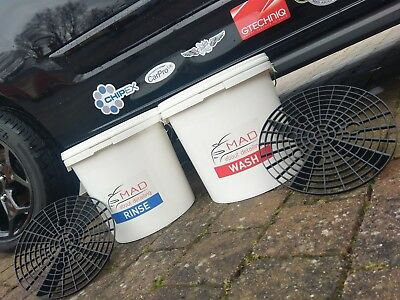 Car Cleaning 2 Bucket Wash System..grit Guards..lids.. Car Detailing