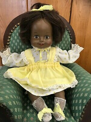 "Vintage 1980 Horsman RARE Li'l Happy Baby Black AA Working Doll 14"" Talk Giggle"