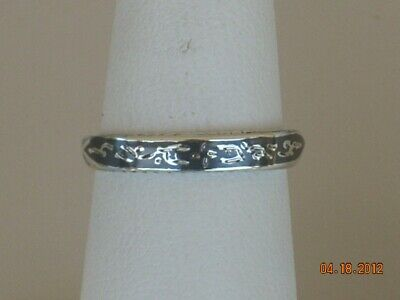 Handmade NIELLO SIAM .925 Sterling Silver Ring Band Black Enamel sizes 6.5 and 7