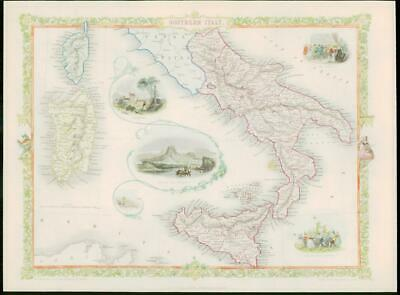"""1850 RARE Original Antique Map of """"SOUTHERN ITALY"""" by TALLIS FULL COLOUR (73)"""