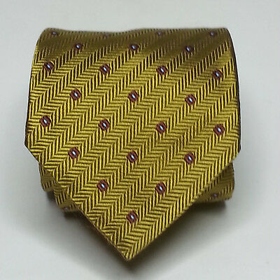"""Daniel Men Silk Dress Tie Gold with Print Hand Made in Italy 62"""" Long 3.5"""" wide"""