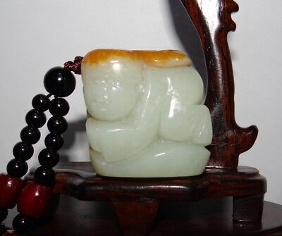 "1.5""China Certified Nature Nephrite Hetian Jade Wealth Lad and Ruyi Pendants"