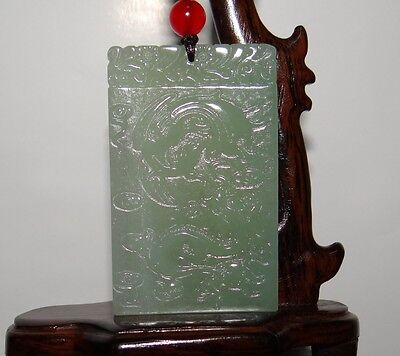"2.4""China Certified Nature Hetian Nephrite Jade Lucky Dragon and Phoenix Pendant"