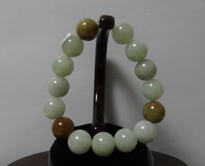 "0.6""China Grade A Certified Nature Hisui Jadeite Jade Lavender & Yellow Bracelet"