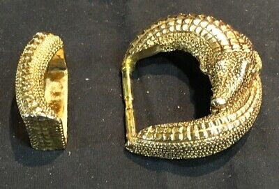 "Vintage Alligator Crocodile Gold Tone Belt Buckle for 1 3/8"" Belt"