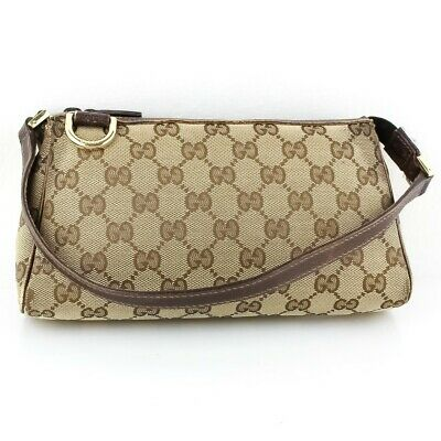 b2becb8dd61 Auth GUCCI ABBEY GG Pattern Canvas Accossory Pouch Cosmetic Bag Brown 145750