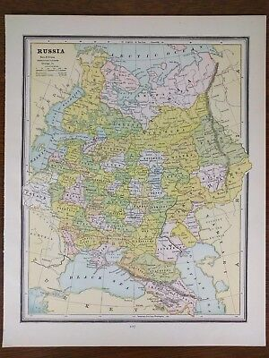 """Vintage 1888 RUSSIA Atlas Map 10""""x13"""" ~ Old Antique MOSCOW  ST PETERSBURG MAPZ"""