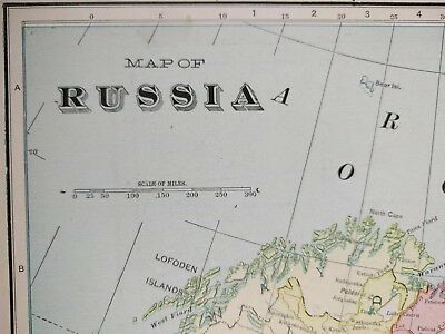 """Vintage 1903 RUSSIA Map 14""""x22"""" Old Antique Original MOSCOW ST PETERSBURG MAPZ"""