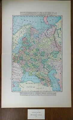 """1902 RUSSIA Vintage Atlas Map 14""""x22"""" ~ Old Antique MOSCOW ST PETERSBURG MAPZ"""