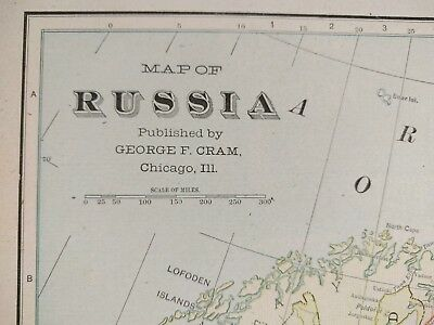 "1902 RUSSIA Atlas Map 14""x22"" ~ Old Antique Original MOSCOW ST PETERSBURG MAPZ"