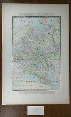"""RUSSIA USSR 1900 Antique Atlas Map 14""""x22"""" Old Vintage MOSCOW ST PETERSBURG MAPZ"""